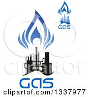 Clipart Of A Black And Blue Natural Gas And Flame Designs With Text 19 Royalty Free Vector Illustration