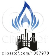 Clipart Of A Black And Blue Natural Gas And Flame Design 20 Royalty Free Vector Illustration