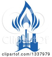 Clipart Of A Silhouetted Blue Natural Gas And Flame Factory 3 Royalty Free Vector Illustration
