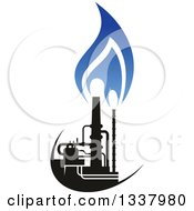 Clipart Of A Black And Blue Natural Gas And Flame Design 19 Royalty Free Vector Illustration