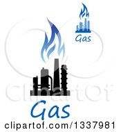 Clipart Of A Black And Blue Natural Gas And Flame Designs With Text 17 Royalty Free Vector Illustration