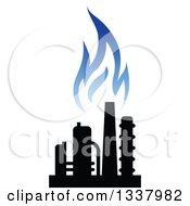 Clipart Of A Black And Blue Natural Gas And Flame Design 18 Royalty Free Vector Illustration