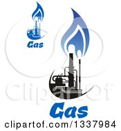 Clipart Of A Black And Blue Natural Gas And Flame Designs With Text 18 Royalty Free Vector Illustration