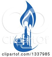 Clipart Of A Silhouetted Blue Natural Gas And Flame Factory 2 Royalty Free Vector Illustration
