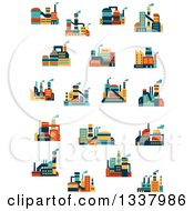 Clipart Of Colorful Plant Factory Buildings 2 Royalty Free Vector Illustration