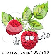Clipart Of A Cartoon Raspberry Character With Leaves Royalty Free Vector Illustration by Vector Tradition SM