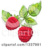 Clipart Of Cartoon Raspberries And Leaves Royalty Free Vector Illustration