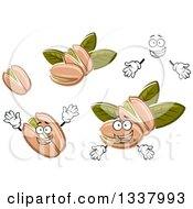 Clipart Of A Cartoon Face Hands And Pistachio Nuts Royalty Free Vector Illustration
