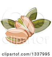 Clipart Of Cartoon Pistachio Nuts And Leaves Royalty Free Vector Illustration