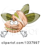 Clipart Of A Cartoon Pistachio Nut Character And Leaves Royalty Free Vector Illustration by Vector Tradition SM