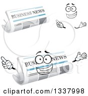 Clipart Of A Cartoon Face Hands And Newspapers 4 Royalty Free Vector Illustration