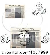 Clipart Of A Cartoon Face Hands And Newspapers 3 Royalty Free Vector Illustration