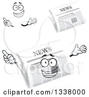 Clipart Of A Cartoon Face Hands And Newspapers 2 Royalty Free Vector Illustration
