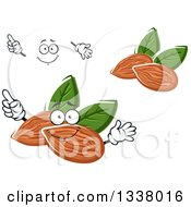 Clipart Of A Cartoon Face Hands And Almonds Royalty Free Vector Illustration by Vector Tradition SM