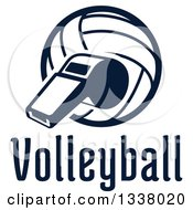 Clipart Of A Navy Blue Volleyball And Whistle Over Text Royalty Free Vector Illustration by Vector Tradition SM