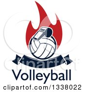 Clipart Of A Navy Blue Volleyball And Whistle Over Red Flames Text And A Blank Banner Royalty Free Vector Illustration by Vector Tradition SM