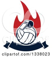 Clipart Of A Navy Blue Volleyball And Whistle Over Red Flames And A Blank Banner Royalty Free Vector Illustration