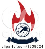 Clipart Of A Navy Blue Volleyball And Whistle Over Red Flames And A Blank Banner 2 Royalty Free Vector Illustration