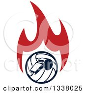 Clipart Of A Navy Blue Volleyball And Whistle Over Red Flames Royalty Free Vector Illustration by Vector Tradition SM