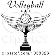 Clipart Of A Black And White Winged Volleyball Stars And Text Over A Trophy Cup Royalty Free Vector Illustration
