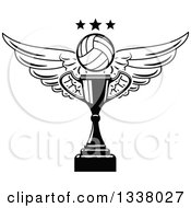 Clipart Of A Black And White Winged Volleyball And Stars Over A Trophy Cup Royalty Free Vector Illustration
