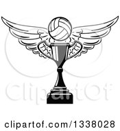 Clipart Of A Black And White Winged Volleyball Over A Trophy Cup Royalty Free Vector Illustration