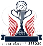Clipart Of A Volleyball Over A Trophy Cup Wings And A Blank Banner Royalty Free Vector Illustration by Vector Tradition SM