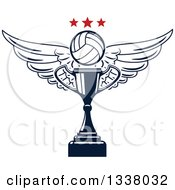Clipart Of A Navy Blue Winged Volleyball And Stars Over A Trophy Cup Royalty Free Vector Illustration
