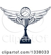 Clipart Of A Navy Blue Winged Volleyball Over A Trophy Cup Royalty Free Vector Illustration by Vector Tradition SM