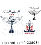 Clipart Of Winged Volleyball And Trophy Designs Royalty Free Vector Illustration