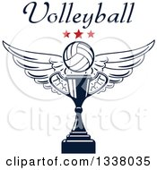 Clipart Of A Navy Blue Winged Volleyball Stars And Text Over A Trophy Cup Royalty Free Vector Illustration