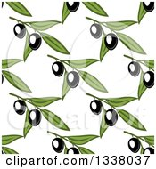 Clipart Of A Seamless Background Pattern Of Black Olives And Green Leaves 3 Royalty Free Vector Illustration