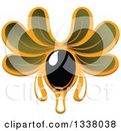 Clipart Of A Black Olives With Dripping Oil And Leaves 4 Royalty Free Vector Illustration
