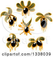 Clipart Of Black Olives Dripping Oil And Leaves Royalty Free Vector Illustration