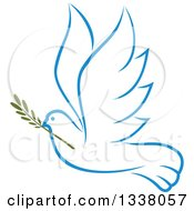 Clipart Of A Sketched Light Blue Flying Peace Dove With A Branch 3 Royalty Free Vector Illustration by Vector Tradition SM