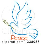 Clipart Of A Sketched Light Blue Flying Peace Dove With A Branch And Text 3 Royalty Free Vector Illustration
