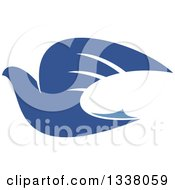 Clipart Of A Blue Flying Peace Dove 2 Royalty Free Vector Illustration by Vector Tradition SM