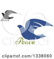 Clipart Of Blue And Dark Gray Flying Doves Royalty Free Vector Illustration