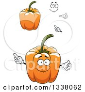 Clipart Of A Cartoon Face Hands And Orange Bell Peppers Royalty Free Vector Illustration