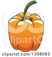 Clipart Of A Cartoon Orange Bell Pepper Royalty Free Vector Illustration