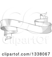 Clipart Of A Vintage Black And White Engraved Styled Blank Ribbon Banner Royalty Free Vector Illustration