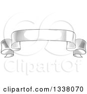 Clipart Of A Vintage Black And White Engraved Styled Blank Ribbon Banner 3 Royalty Free Vector Illustration