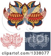 Clipart Of Beautiful Blue Orange Red White And Yellow Henna Lotus Flowers Royalty Free Vector Illustration