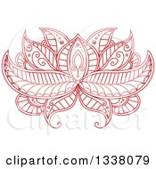 Clipart Of A Beautiful Red Henna Lotus Flower 4 Royalty Free Vector Illustration