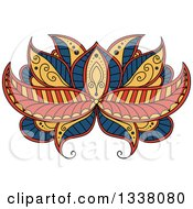 Clipart Of A Beautiful Blue Yellow And Orange Henna Lotus Flower Royalty Free Vector Illustration by Vector Tradition SM