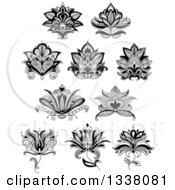 Clipart Of A Black And White Henna And Lotus Flowers 19 Royalty Free Vector Illustration