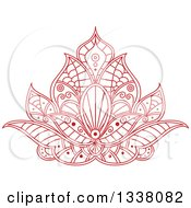 Clipart Of A Beautiful Red Henna Lotus Flower 3 Royalty Free Vector Illustration