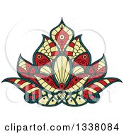 Clipart Of A Beautiful Yellow Red And Blue Henna Lotus Flower Royalty Free Vector Illustration