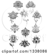 Clipart Of A Black And White Henna And Lotus Flowers 20 Royalty Free Vector Illustration
