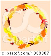 Clipart Of A Colorful Autumn Leaf Wreath Over Pastel Pink 2 Royalty Free Vector Illustration